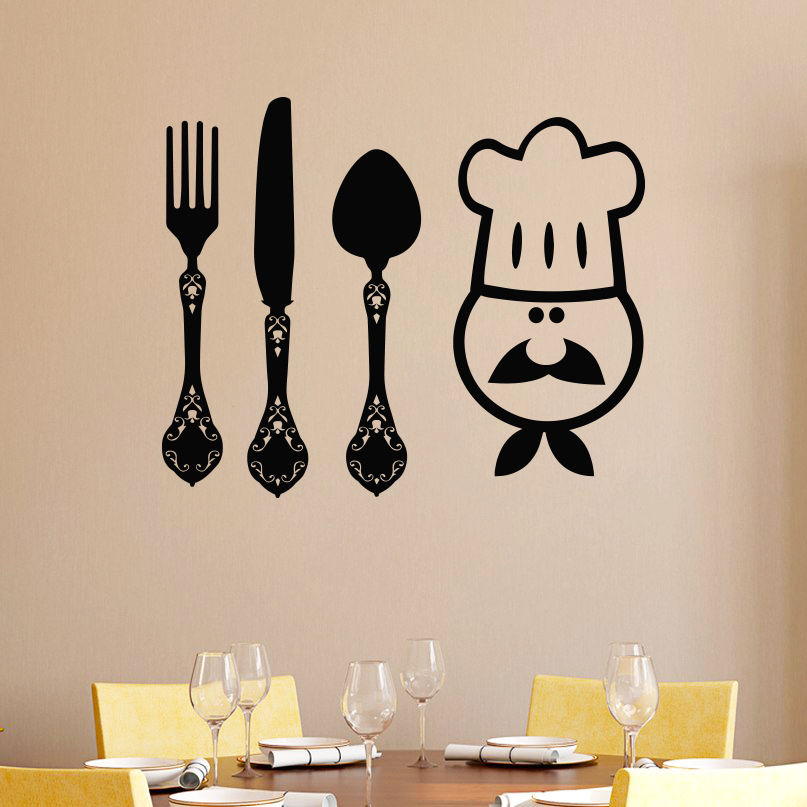 Wall decals murals cook knife fork spoon art decal kitchen cafe shop wall decals murals cook knife fork spoon art decal kitchen cafe shop baackground decoration decor sticker removable wallpaper in wall stickers from home ccuart Choice Image