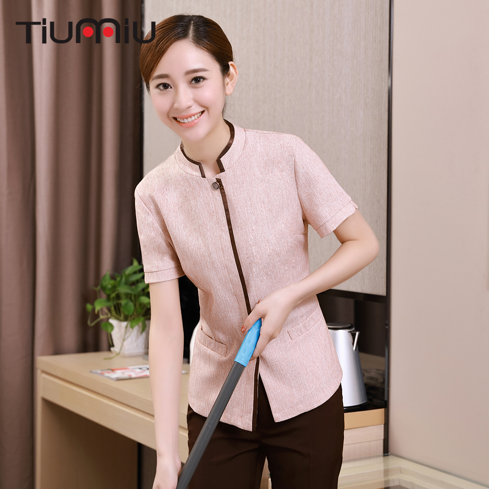 New Stand Round Collar Jacket Restaurant Hotel Uniform Waiter Short Sleeve Workwear Housekeeping Clothes Women Cleaning Overalls