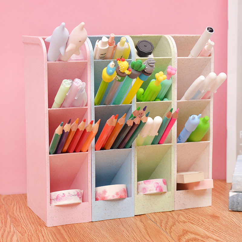High Capacity Pink Pen Holder Cute Korean Style Multi-function Oblique Desktop Storage Box Office Stationery Shop Desk Organizer