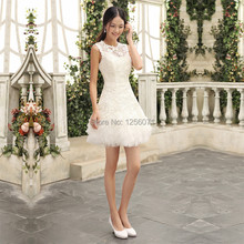 2017 fall new Bridesmaid dresses short lace prom dress shoulders Bridal gowns