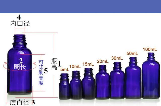 FCL wholesale.5/10/15/20/30/50/100ml empty blue glass essential oil bottle(without cap)
