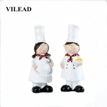 VILEAD 17cm 2 Pcs/Set Resin Couple Chef  Figurines Nordic Creative Handicrafts Home Living Room Cute Trinkets Ornaments For