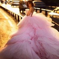 Amazing Pink Tulle Puffy Floor Length with Train Custom Made Women Dress for Evening Prom Party Red Carpet Celebrity Birthday