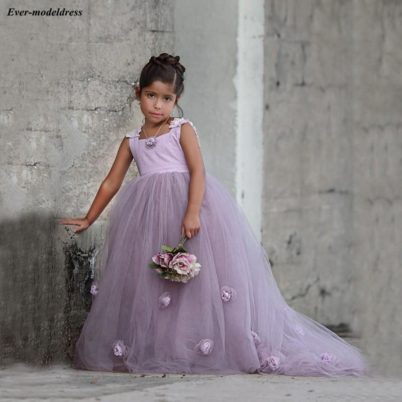 Pretty Princess Ball Gowns Tulle   Flower     Girls     Dresses   Cap Sleeves   Girls   Pageant   Dresses   With Handmade   Flowers   vestido daminha
