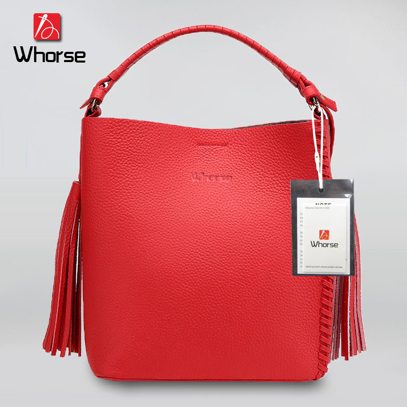 ФОТО [WHORSE] Brand Logo Fashion Women's Genuine Leather Handbag Tassel Women Shoulder Messenger Bags High Quality Small Bucket Bag