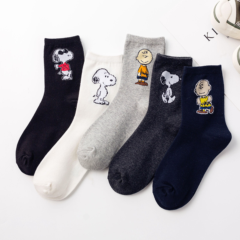 Dreamlikelin Cartoon Funny Women Cotton Socks Animal Print Fashion Cotton Cute Dog Snoopy Socks Long Crew Socks