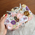 Handmade Pink Flower Evening Bag Women Fashion Day Clutch Beading Bag Sweet Flower Handbags