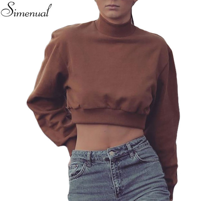 Colheita gola camisola do pulôver das mulheres camisolas hoodies outono inverno 2016 roupas sexy slim curto moda nova svitshot