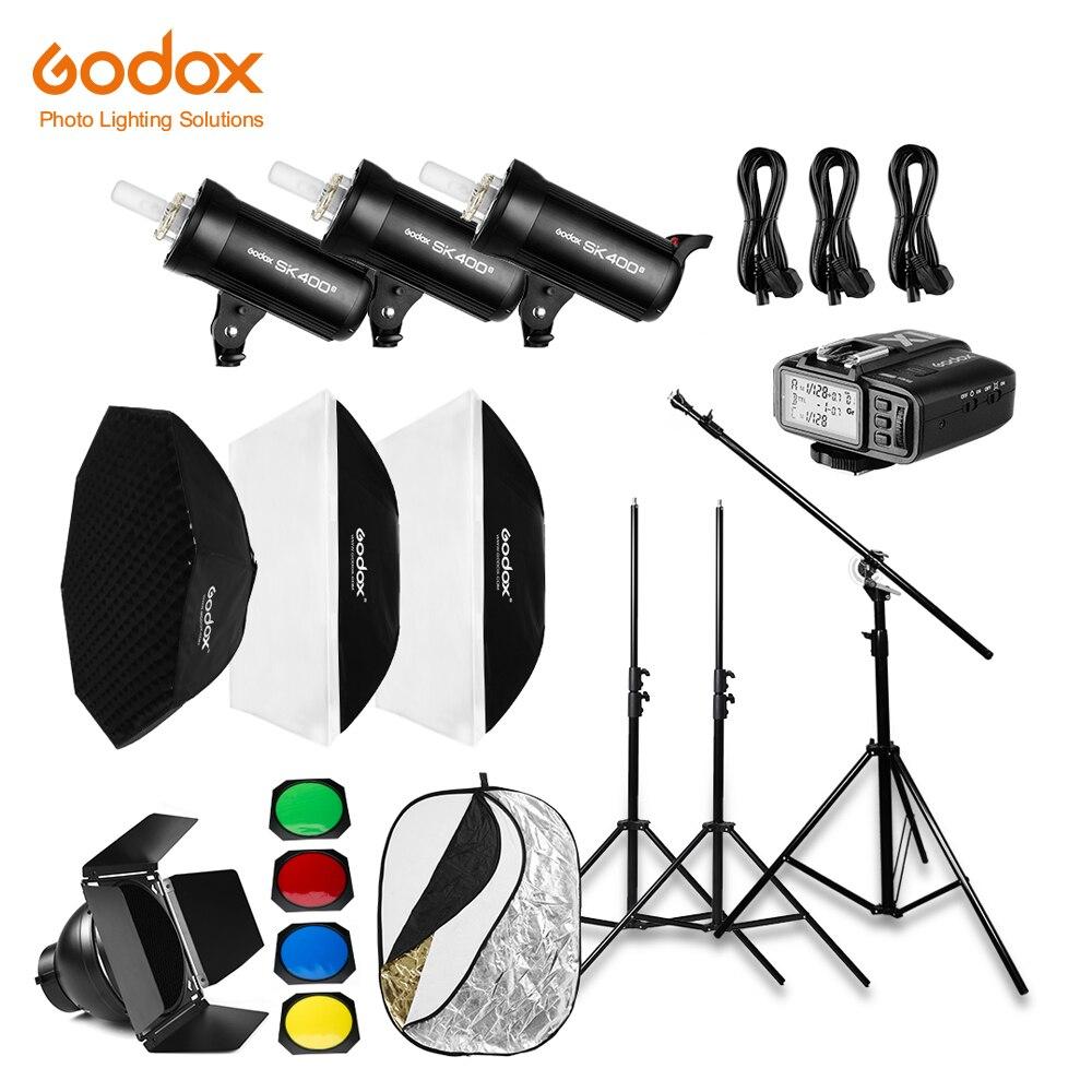 Free DHL 1200W Godox 3x 400Ws Photo Studio Flash Lighting,Softbox,Light Stand, Studio Boom Arm Top Light Stand