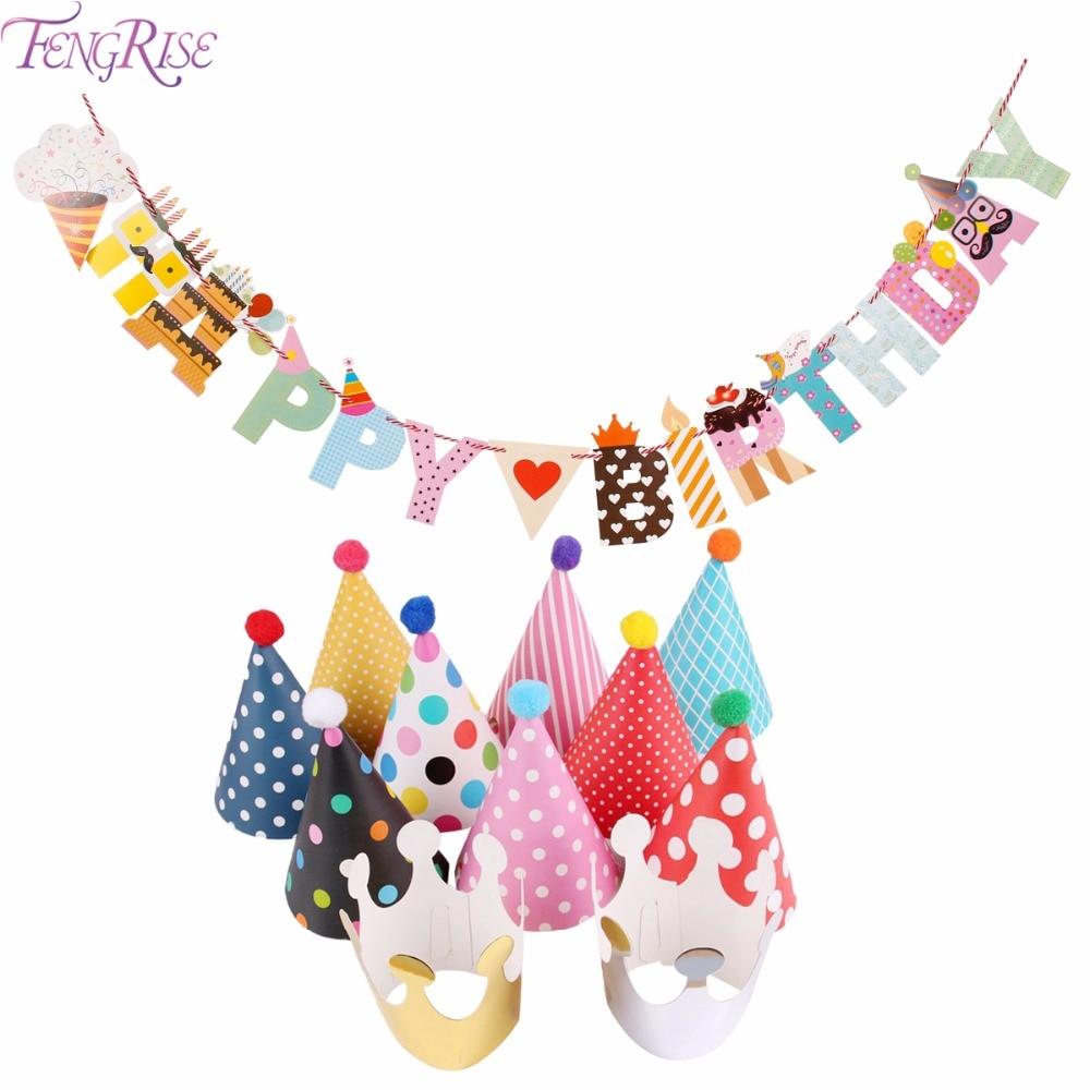 FENGRISE 11pcs Happy Birthday Party Hats Polka Dot DIY