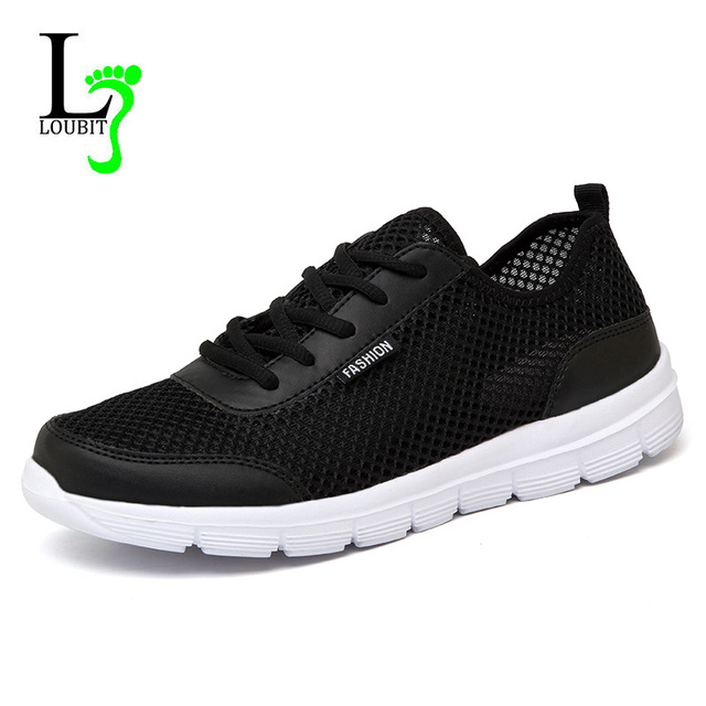 Men Shoes 2019 Summer Sneakers Breathable Casual Shoes Fashion Comfortable Lace up Men Sneakers Mesh Flats Shoes Plus Size 38-48