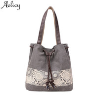 Aelicy Fashion Canvas Shoulder Bag Women Print DrawString Totes Bag For Shopping Female Casual High Quality