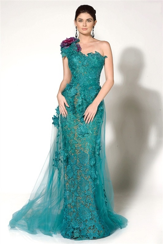 Musulman nouveau une épaule Turquoise dentelle fleurs longue robe de soirée formelle longue robe de soirée robe de bal - 2