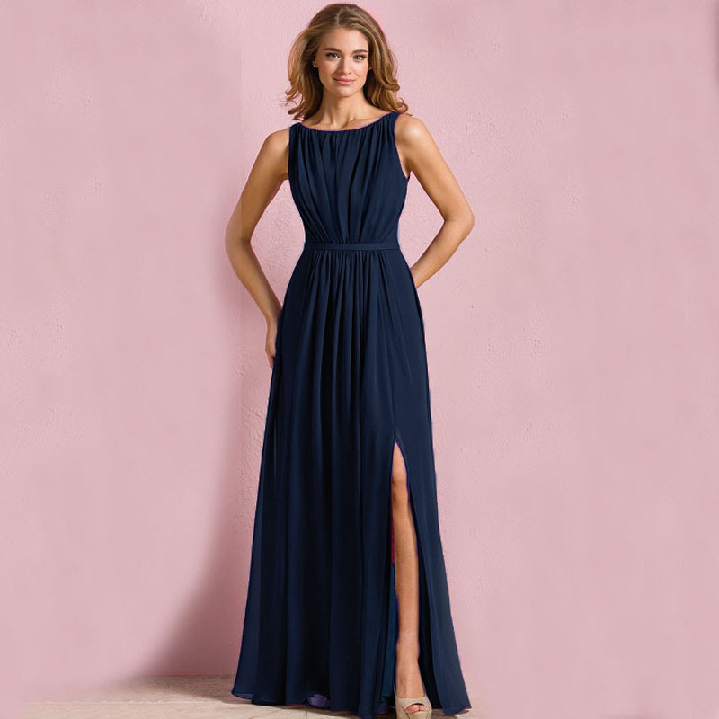 Affordable Wedding Guest Dresses: B7199 New Cheap Navy Long Bridesmaid Dresses Chiffon Scoop