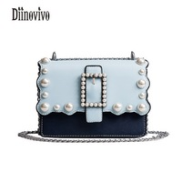 DIINOVIVO Peal Chains Panelled Shoulder Bags Lovely Sweet Women Bag Fashion Casual Cross Body Bags New