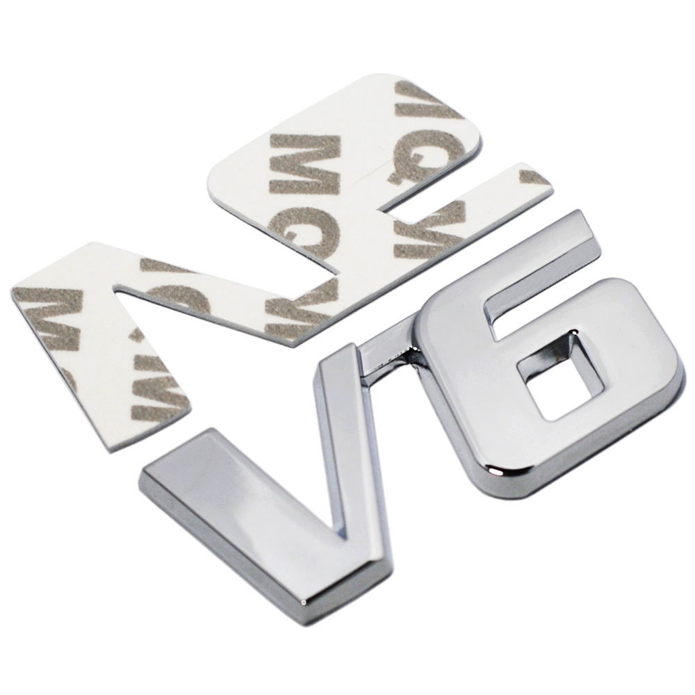 Car Chrome Metal V6 Emblem Badge 3D Decal Trunk Auto Motor Sticker Car Styling Sticker for Ford Fiesta Kuga Ranger Galaxy Fusion car styling for mercedes benz g series w460 w461 w463 g230 g300 g350 chrome number letters rear trunk emblem badge sticker