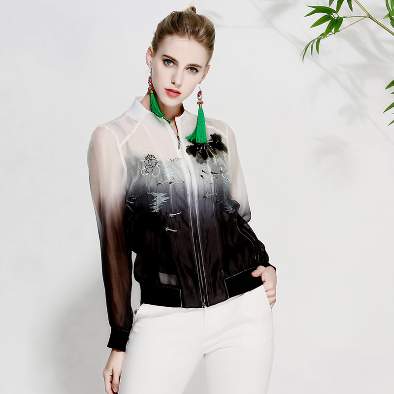 Women tops summer royal embroidered vintage floral short coat high-end lady casual silk organza jacket coat female M-XXL