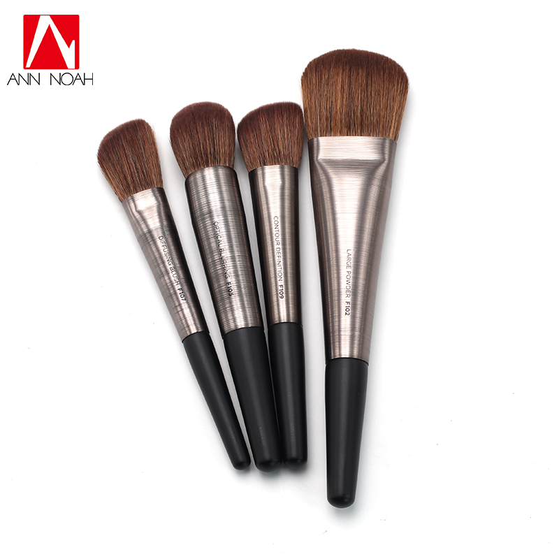 US $8.18 17% OFF|New Brushed Gunmetal Aluminum Handle Antibacterial Synthetic Hair Contour Large Powder Blurring Blush Pro Face Brush-in Eye Shadow Applicator from Beauty & Health on Aliexpress.com | Alibaba Group