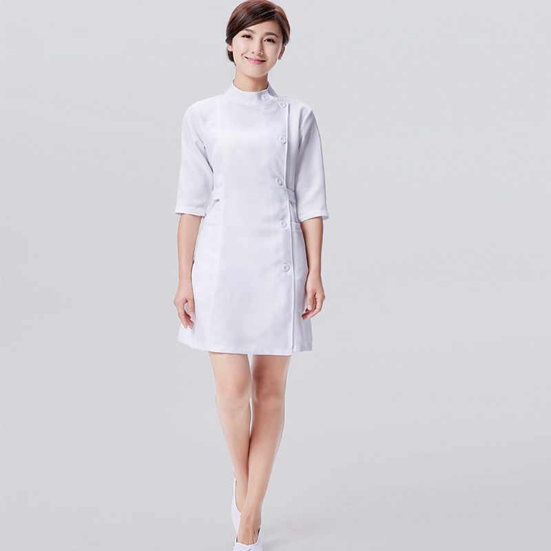 חצי שרוול אחות עבודה ללבוש שמלת מרפאת שיניים בית חולים מנתח מדים סלון יופי קוסמטיקאית בגדי Medicos שמלה