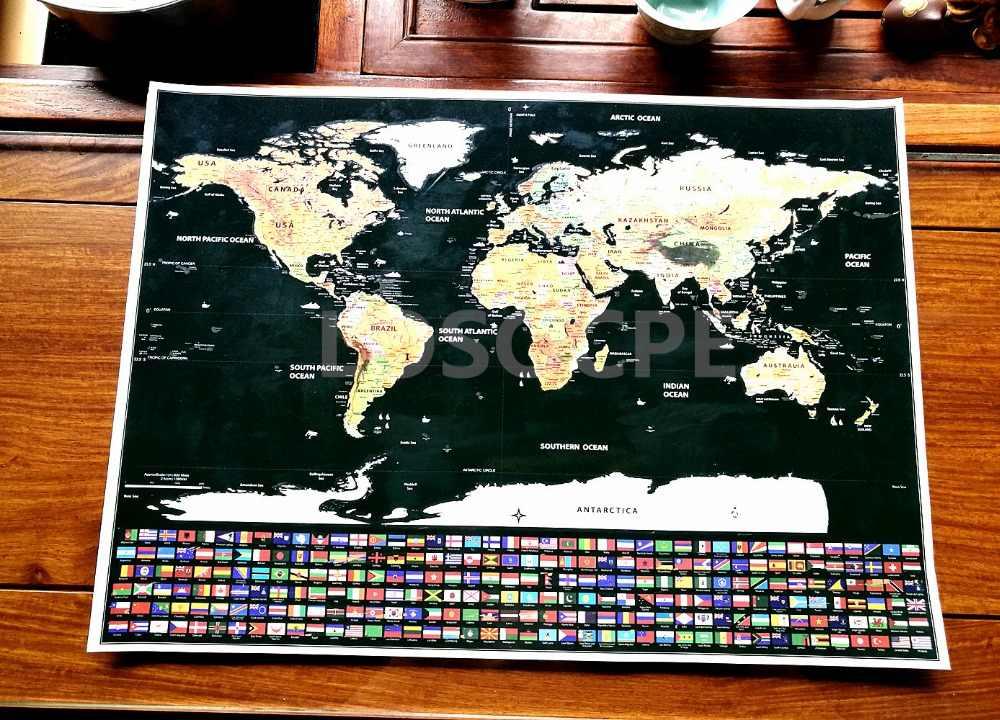 Baru! Deluxe Perjalanan Awal dari Peta Dunia Laut Biru Retro Kreatif Stiker Dinding DIY Poster Peta dengan Bendera untuk Dekorasi Rumah