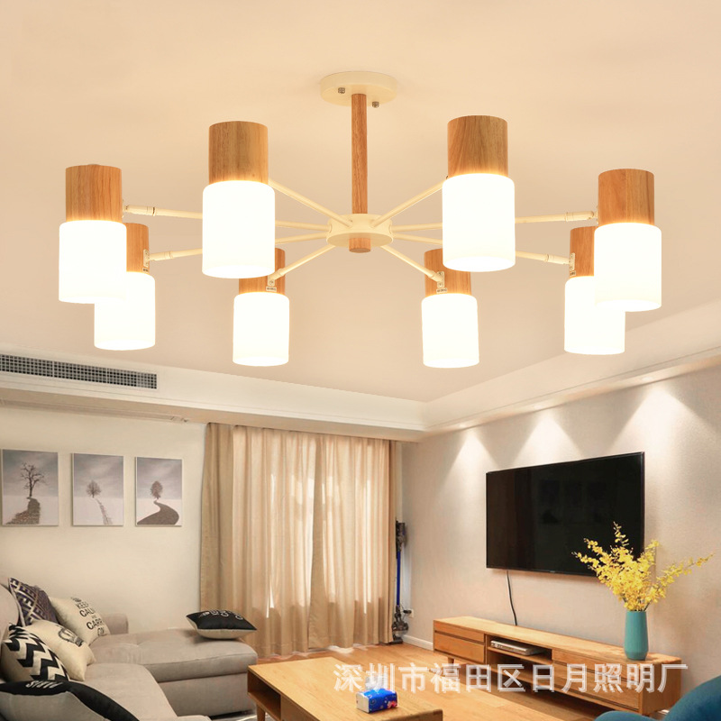 Modern Art OAK Wooden Pendant Lights Hanging Wood Lamps Dinning Room Restaurant Fixtures Indoor Decoration Pendant Lamp