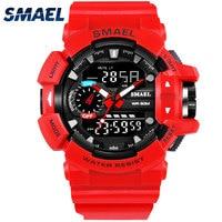 Smael 1436 S הלם ספורט שעונים לגברים 50 M עמיד למים דיגיטלי צבאי צבא שעון זכר Wwatch אופנה Relogio Masculino luxo