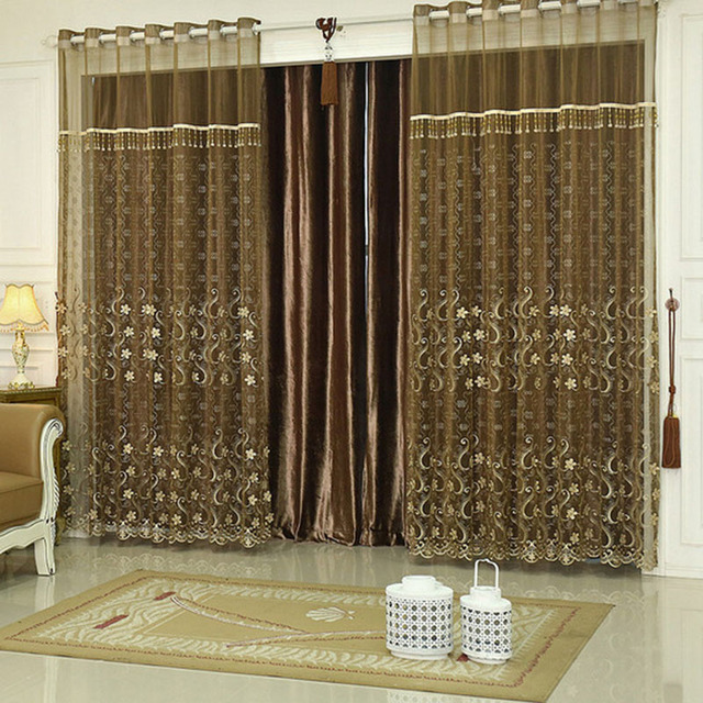 Sheer Curtains Cortinas Infantiles Brown Retro Cotton Curtain Living Room  Bedroom Luxury Curtains Room Divider Modern European
