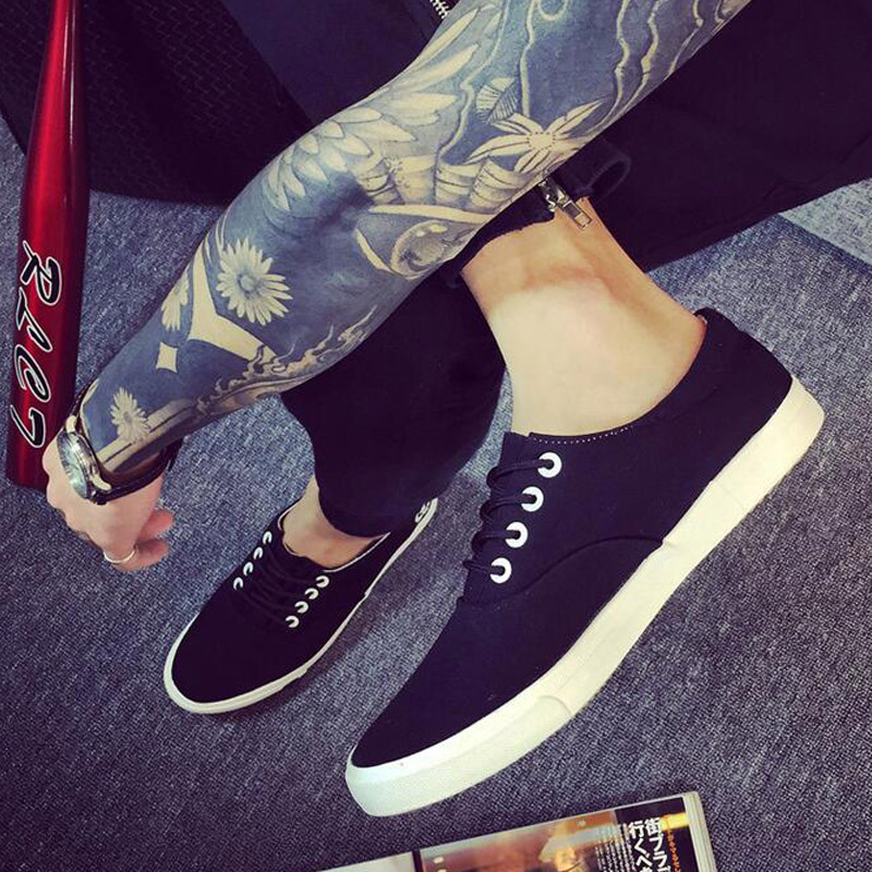 Spring And Summer Breathable New 2016 Canvas Brand Lace Up Shoes Men Flat Shoes Slip On Mens Casual Shoes Black White brand new spring casual boys canvas low top shoes slip on mens lightweight canvas shoes for young men fashion flat shoes ac 07