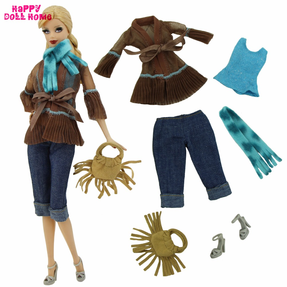 Handmade Outfit Fashion Casual Wear Party Dress Up Bowknot Coat Scarf Pants Tassel Handbag Shoes Clothes For Barbie Doll Gift handmade casual wear outfit jacket coat gray vest pants khaki trousers clothes for american girl doll 18 accessories toys gift