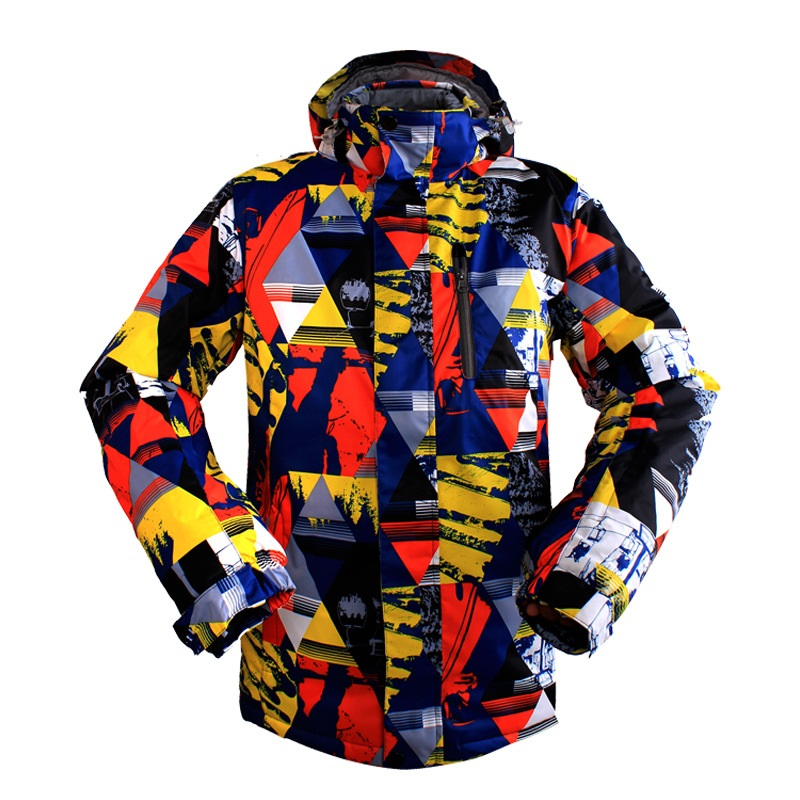 Men ski jacket winter Keep warm Geometric print Slim Thickened ski jacket Windproof waterproof Skiing Jacketsmen geometric print wrap shorts