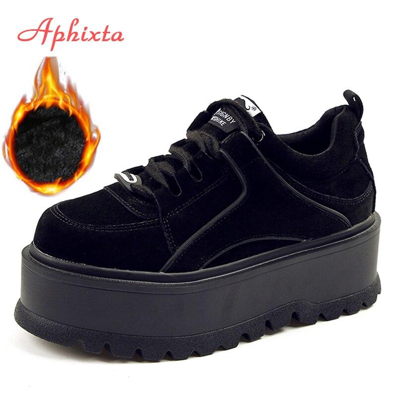 Aphixta plataforma de encaje tobillo invierno zapatos mujeres botas de alta calidad cada vez mayor altura zapatos de mujer zapatos de vaca de moda gruesa bota