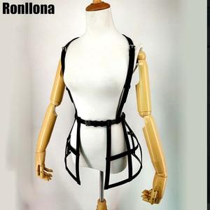 Image 3 - Vestido con arnés de cuero para mujer, lencería Sexy, falda gótica, fetiche, cinturón de cintura, cinturón de Bondage, erótico, jaula para el pecho, Sexual