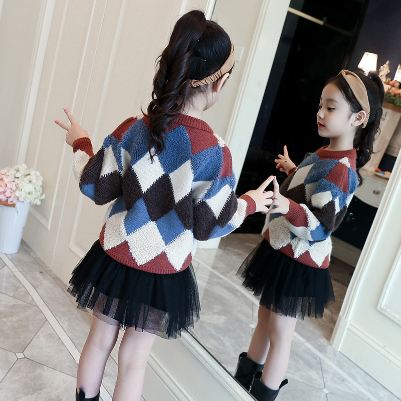 d42cfe90a Girls Sweater 2018 New Spring Winter Pullover Long Sleeve Plaid Cotton Sweater  for Children Knitted Sweater Kids Clothes MC22