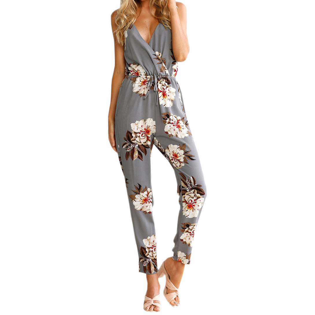 Sexy Beach Boho Jumpsuits 2018 Summer Floral Print Women Jumpsuits Spaghetti Strap Backless Sexy Long Playsuits Overalls LX338