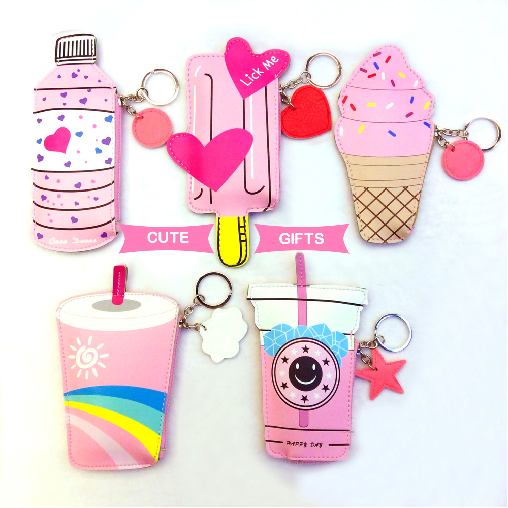 3D Cartoon Women Coin Purses Cute Icecream Bottle Leather Change Pouch Kawaii Children Wallet Small Bag for Girl Holder Gifts
