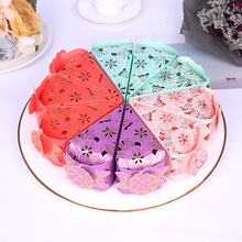 10Pcs/lot Carved Hollow Gold Foil Cake Triangle Candy Box Wedding Favor Marriage Cajas Baby Shower Gift Packaging