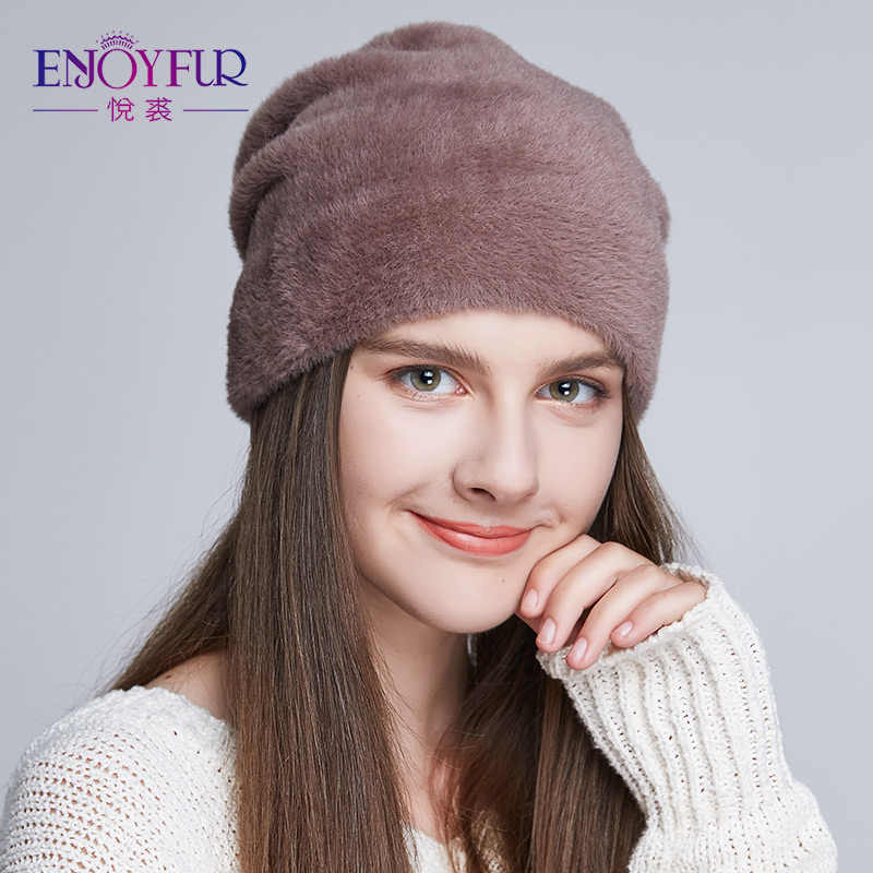 cfd2693ac1c9d2 ENJOYFUR Women's Hats For Winter Imitate Wool Soft Thick Caps New Style  Casual Hats Female For
