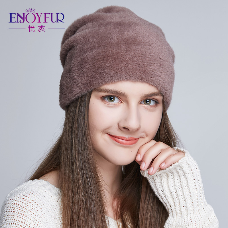 Sombreros de mujer de piel de ENJOYFUR para invierno imitan las gorras gruesas suaves de lana nuevos sombreros casuales de estilo femenino para mujeres
