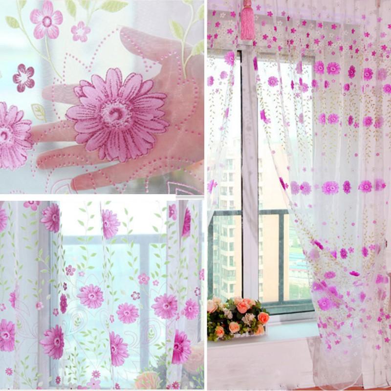 Романтический цветочный тюль вуаль двери, окна Шторы простыня Панель чистой шарф подзоры Новый ...