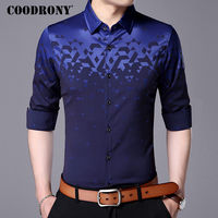 COODRONY Men Shirt Fashion Pattern Long Sleeve Camisas Masculina 2017 New Famous Brand Clothing Mens Business