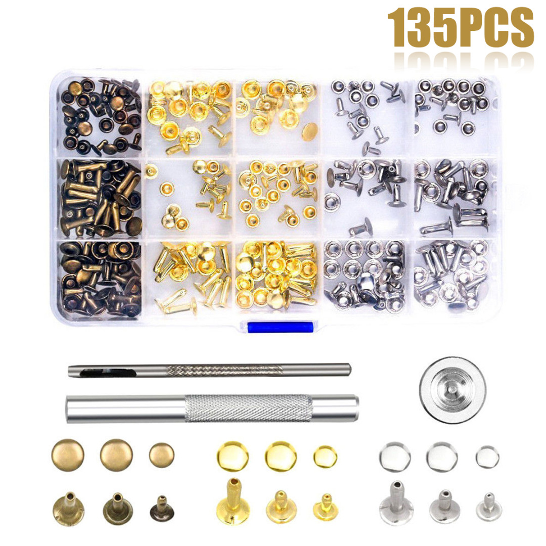 JX-LCLYL 135Pcs DIY Leather Craft Snap Fasteners Snaps Buttons Kit Fixing Hat Rivet Tool
