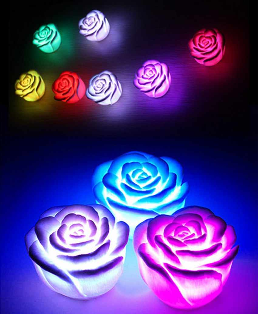 Hot 7 Colors Changing Auto Flameless Romantic Rose Shaped LED Xmas Wedding Party