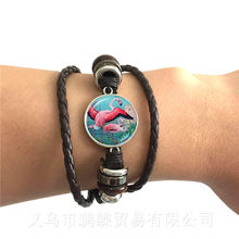 Flamingo Pattern Bracelet New Fashion Round Glass Bird Glass Dome Black/Brown 2 Color Leather Cords Adjustbale Bangle Gift(China)