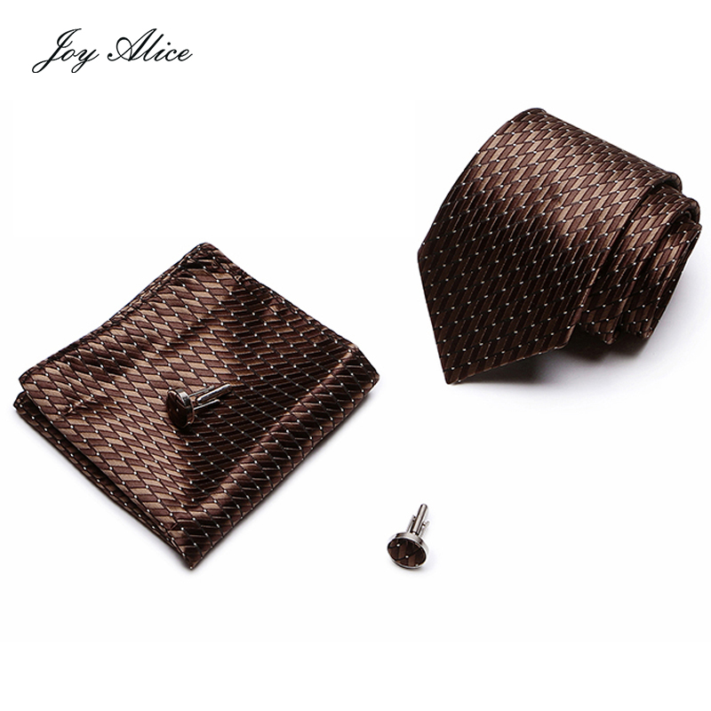 2018 Mens Tie Blue Novelty 100% Silk Fashion Necktie Hanky Cufflinks Brown Ties For Men Formal Wedding Party Groom