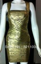 New arrival best selling figure-flattering gold foil sexy bandage dress boat neck gold bandage dress DM593