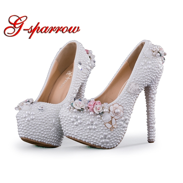 a4f49b6c9d0e Elegant Wedding Shoes Woman Handmade High Heels White Pearl Princess Bridal  Dress Shoes Rhinestone Adult Ceremony