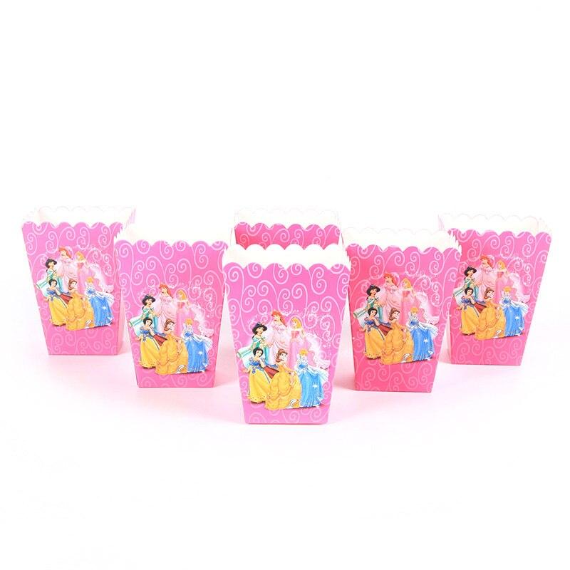 24pcs/lot Princess Theme Popcorn Candy Box Girls Birthday Party Decorations Kids Favor Christmas Party Supplies