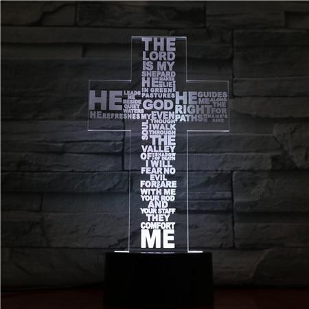 Jesus Christ Cross Shaped Usb 3d Led Night Light Mom Mother Gifts Christian Believer Desk Table Lamp Bedroom Neon Nightlight
