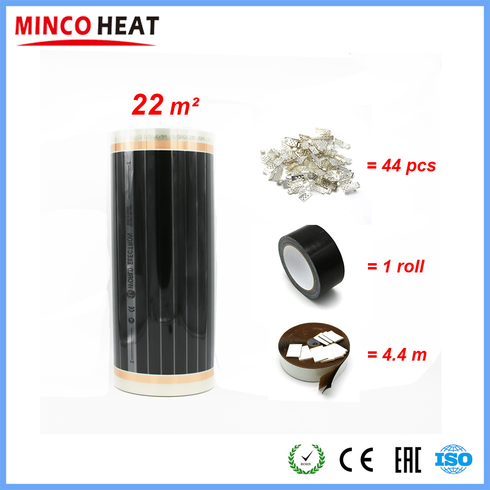 22m2 Infrared Surface Heating Foil ELECTRIC UNDERFLOOR HEATING FILM INFRARED 220W m FILM With Accessories