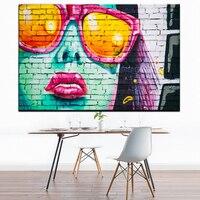 Xdr996 Wear Glasses Girl Wall Painting Graffiti Street Canvas Art Prints Poster Big Size 24x36inch